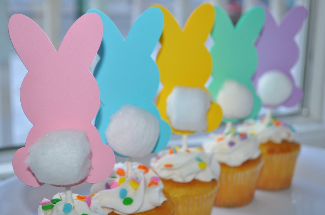 Easter Bunny Birthday Cupcake Toppers Easter Party