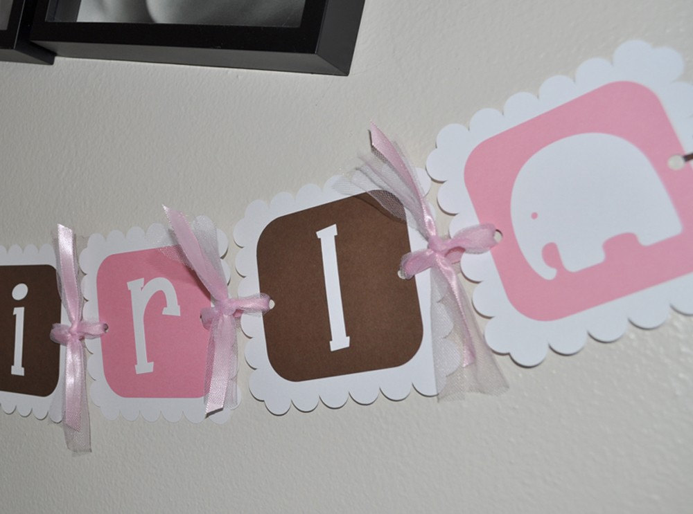 Elephant Baby Shower Banner Baby Shower Decorations It S A Girl Elephant Theme Pink And Brown