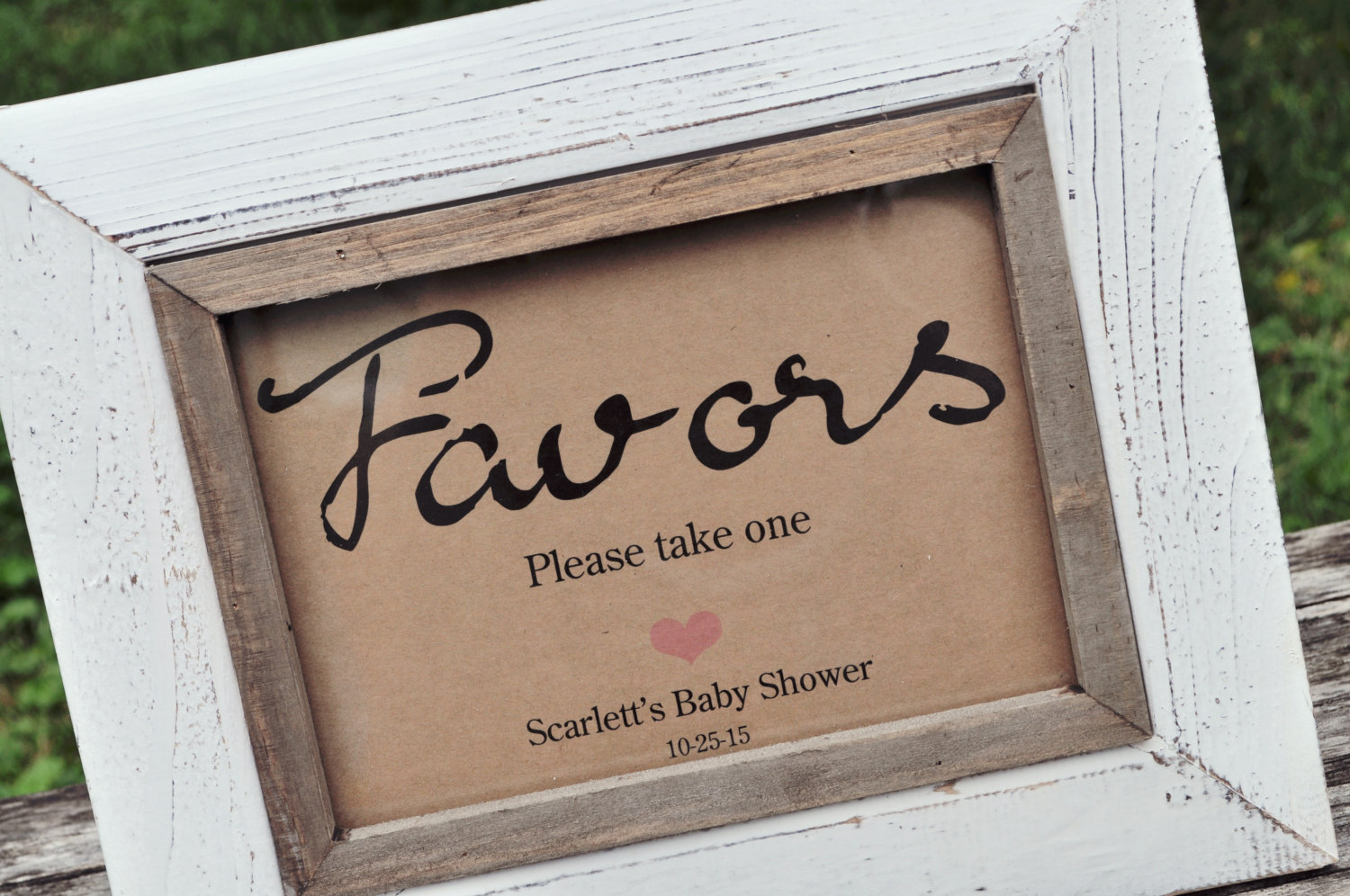 Favor Sign Baby Showers Weddings 5 7 Rustic Kraft Print Wedding