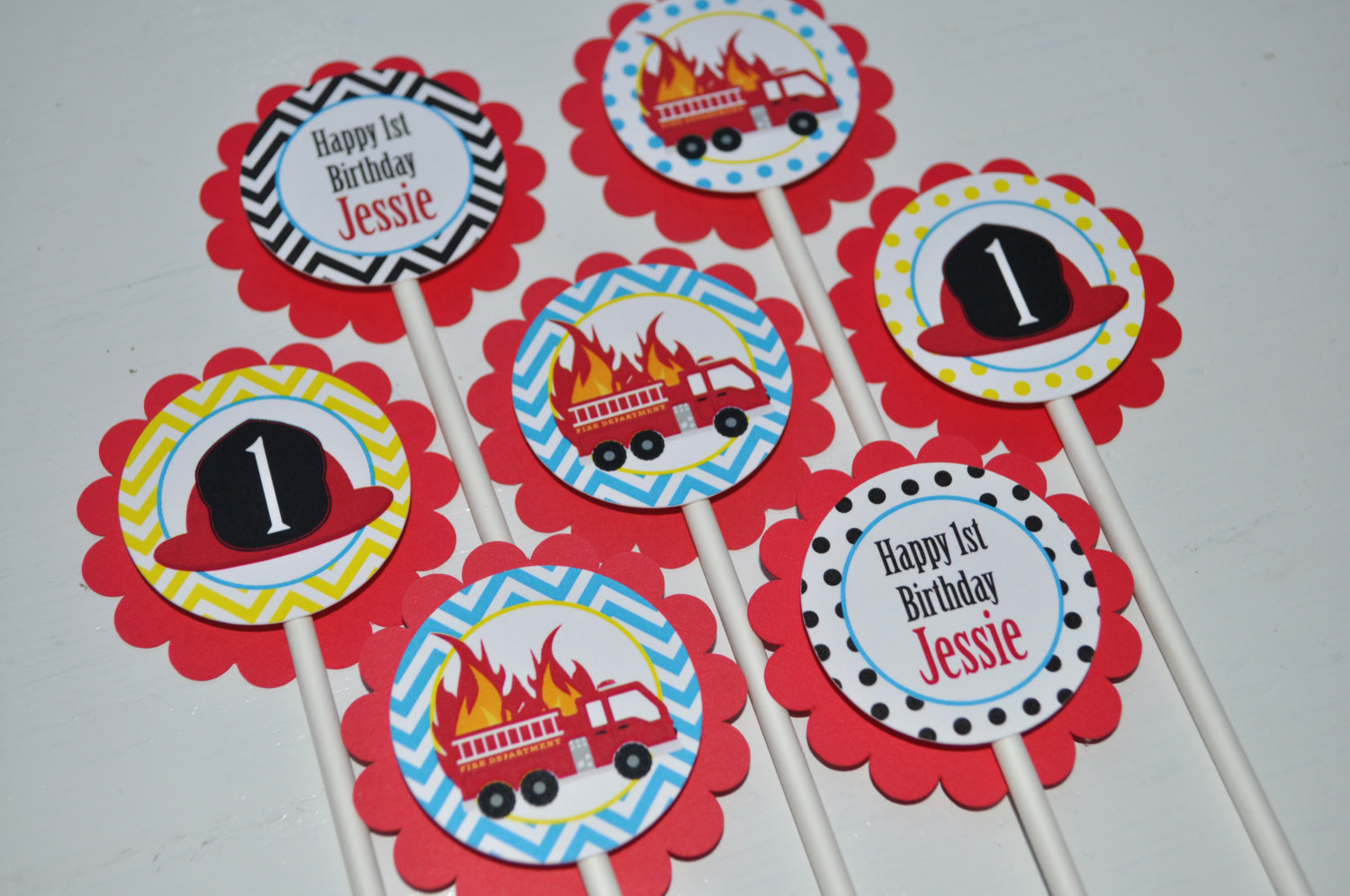 Fire Truck Birthday Cupcake Toppers Firefighter Birthday
