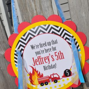 Fire Truck Birthday Door Sign Decorations Boys Firetruck Theme Party