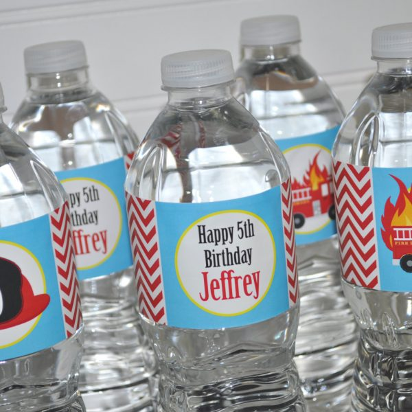 Firetruck Fire Truck Engine Birthday Party Favors Favor Water Bottle Labels Wrappers We Print and Mail to you!