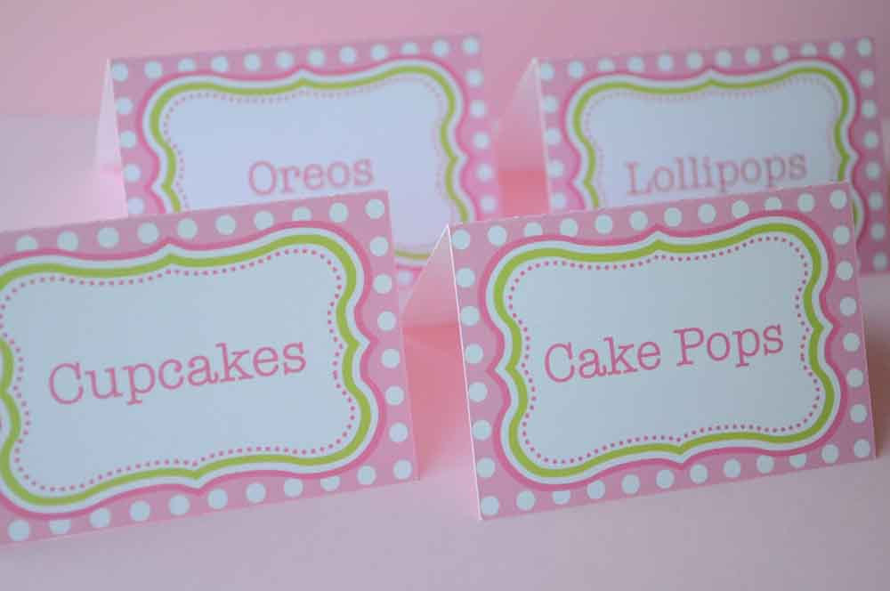 food labels or placecards  u2013 polkadots pink and lime green