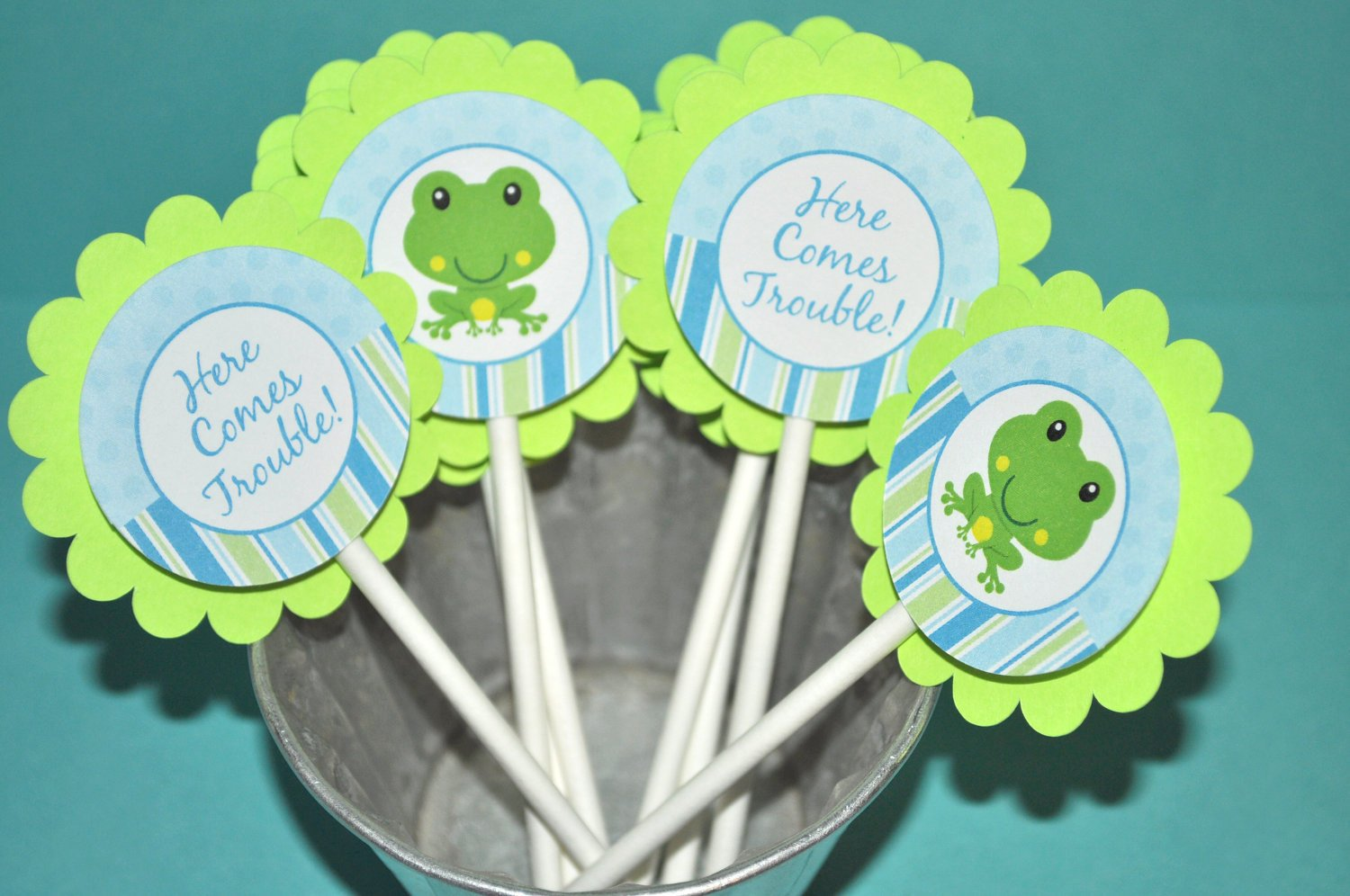 Frog Cupcake Toppers Boys Baby Shower 1st Birthday Froggy Party