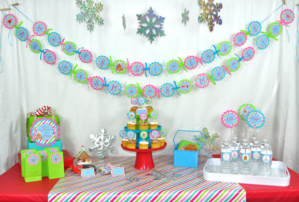 Christmas Party Decorations.Gingerbread Birthday Banner Winter Birthday Party Decorations Christmas Party Banner Gingerbread Decorating Party