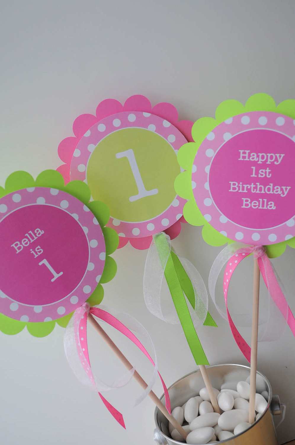 Girls 1st Birthday Centerpiece Sticks Decorations