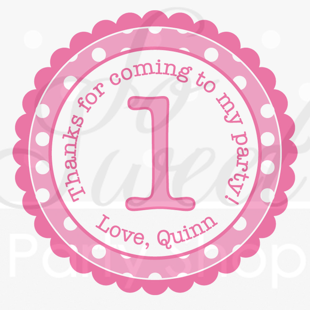 Girls 1st birthday party favor sticker labels thank you stickers birthday stickers 1st birthday pink and white polkadots set of 24