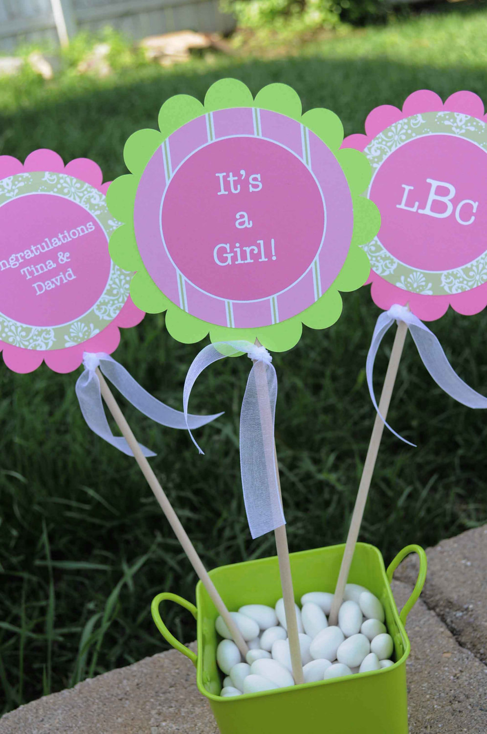 Girls Baby Shower Centerpiece Sticks Baby Shower Decorations Party Decorations Girls Birthday Decorations Pink And Green Set Of 3