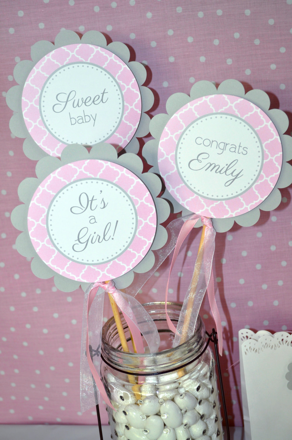 Girls Baby Shower Centerpiece Sticks It S A Girl Baby Shower Decorations Pink And Gray Girl Baby Shower Decorations Set Of 3 So Sweet Party Shop