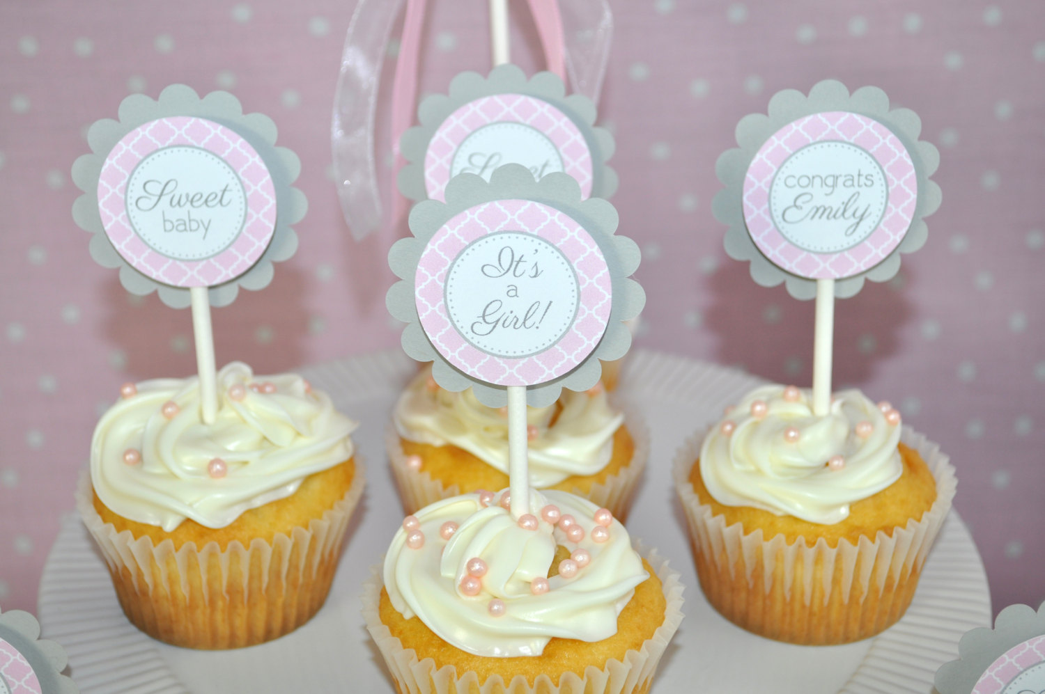 Girls Baby Shower Cupcake Toppers – Pink and Gray – Girl ...