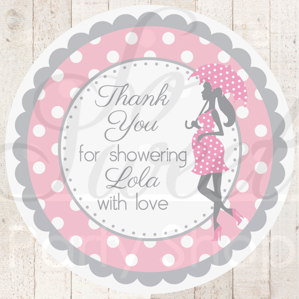 Girls Baby Shower Favor Sticker Labels Pink And Gray Polkadot