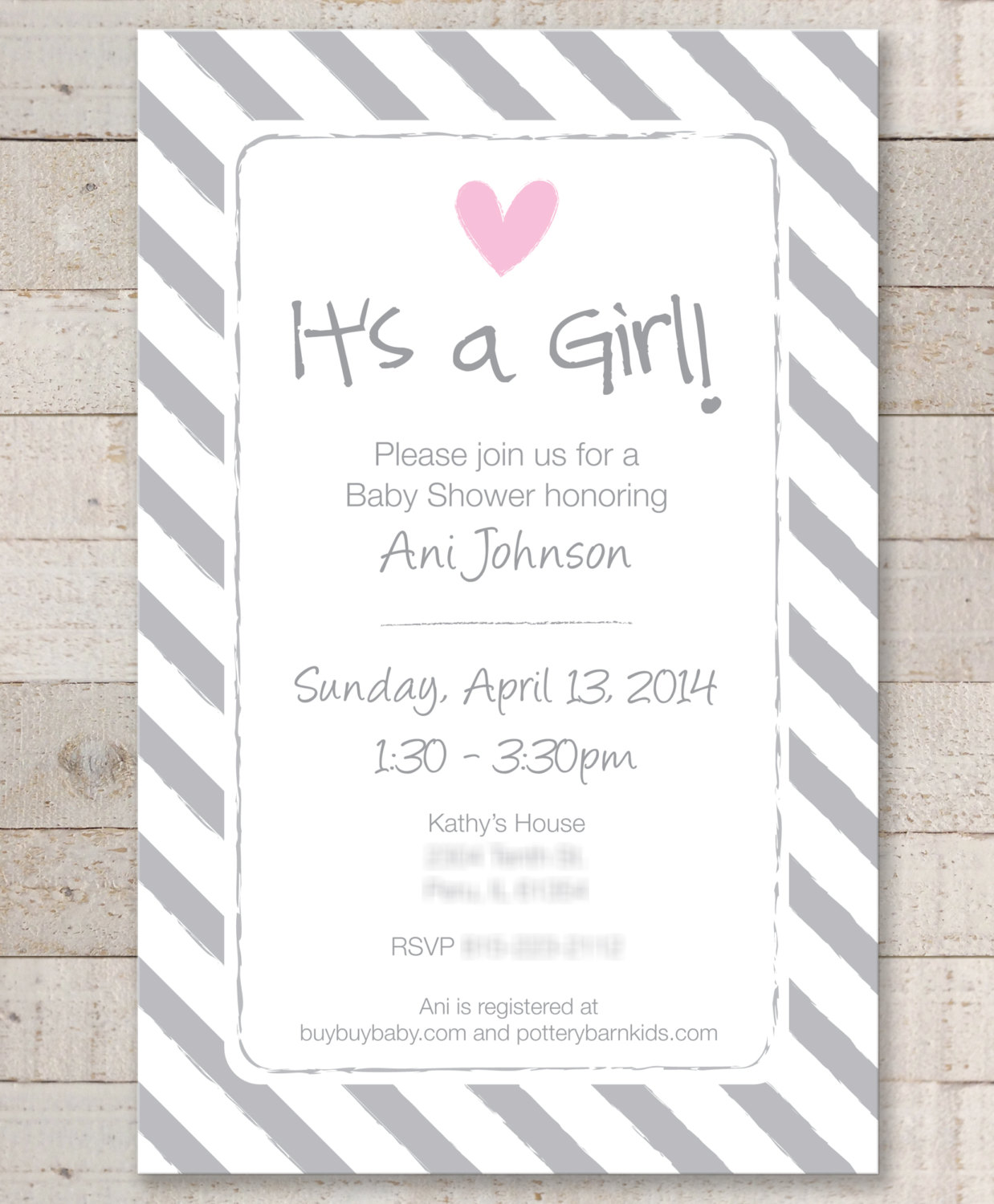 Girls Baby Shower Invitations – Pink and Gray – Baby Shower, Bridal ...