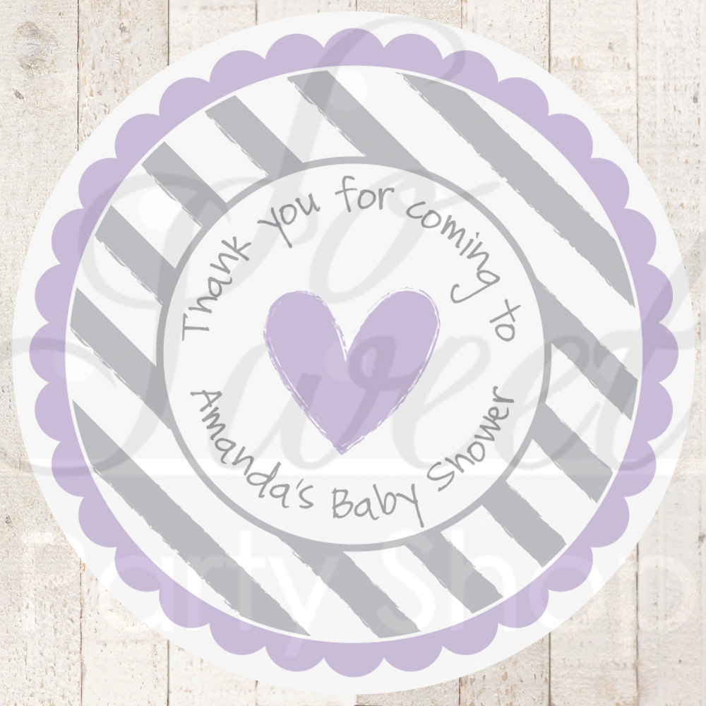 Girls Baby Shower Stickers Favor Labels Thank You Stickers