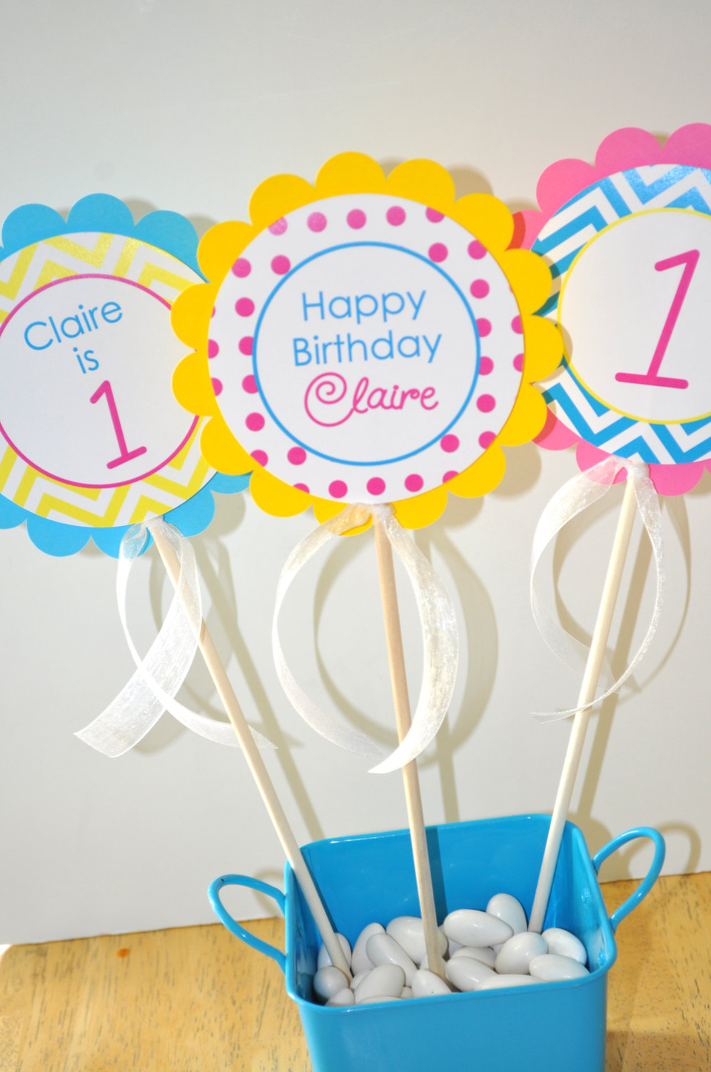 Girls Birthday Door Sign Chevron Decorations