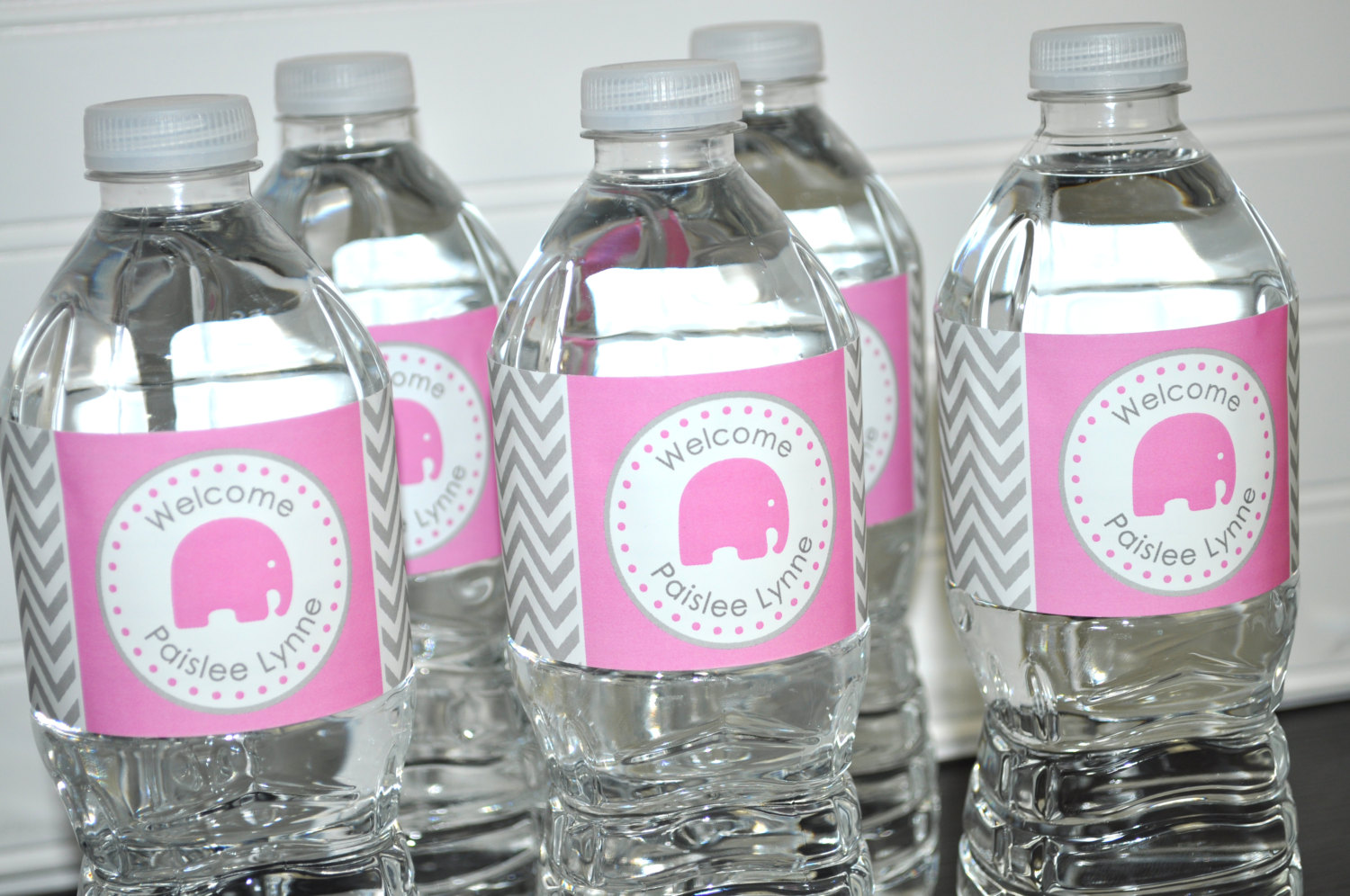 Girls Elephant Baby Shower Water Bottle Labels Its A Girl Baby