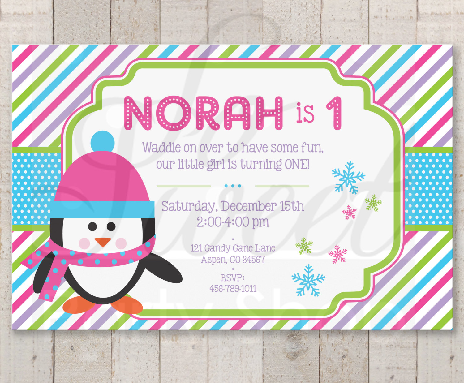 Girls Penguin 1st Birthday Invitations – Girl Penguin Birthday Party ...