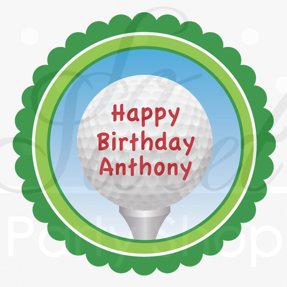 Golf Birthday Stickers Personalized Party Favor Labels Mens