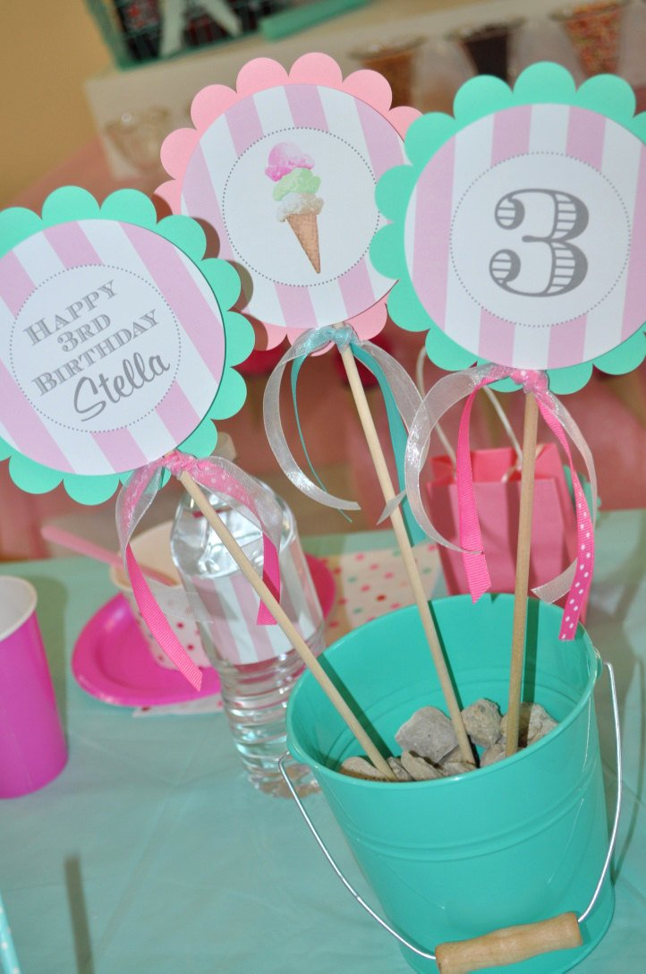 Ice Cream Birthday Centerpiece Sticks, Sweet Shoppe ...