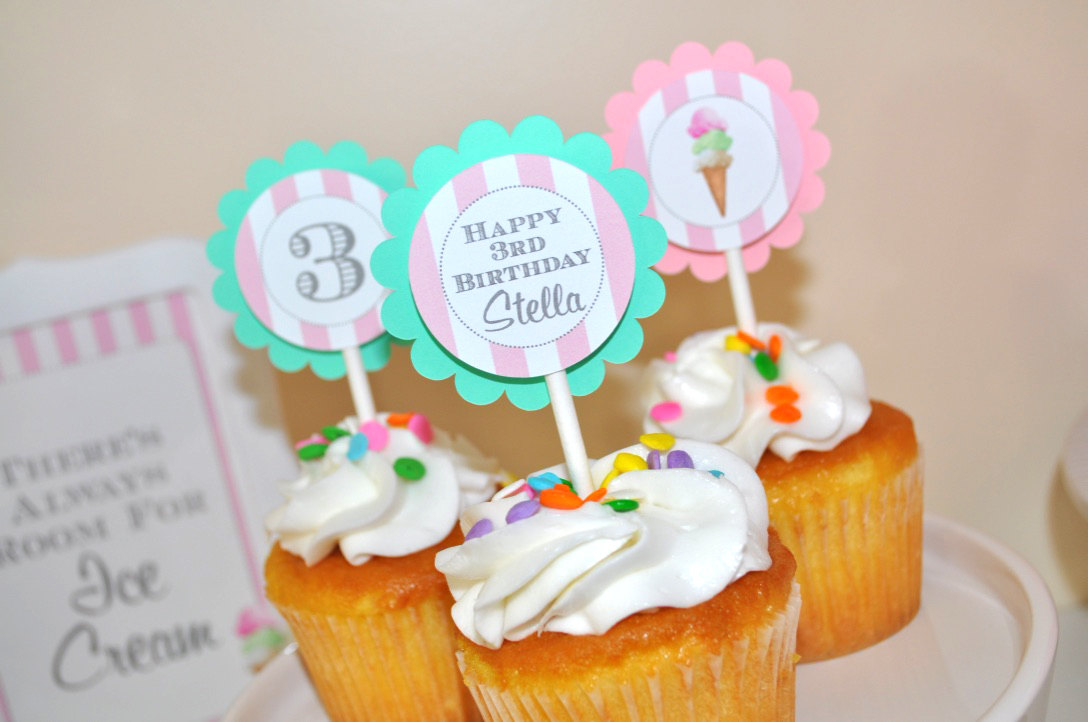 Ice Cream Birthday Cupcake Toppers
