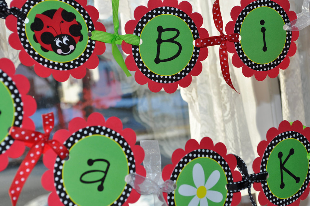 ladybug birthday banner girls birthday party personalized party