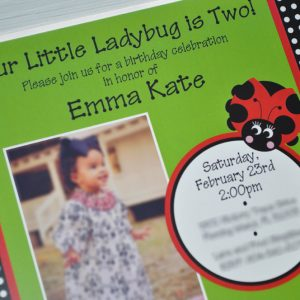 Ladybug Birthday Invitations Girls Party Personalized Decorations Red Green Black Set Of 10