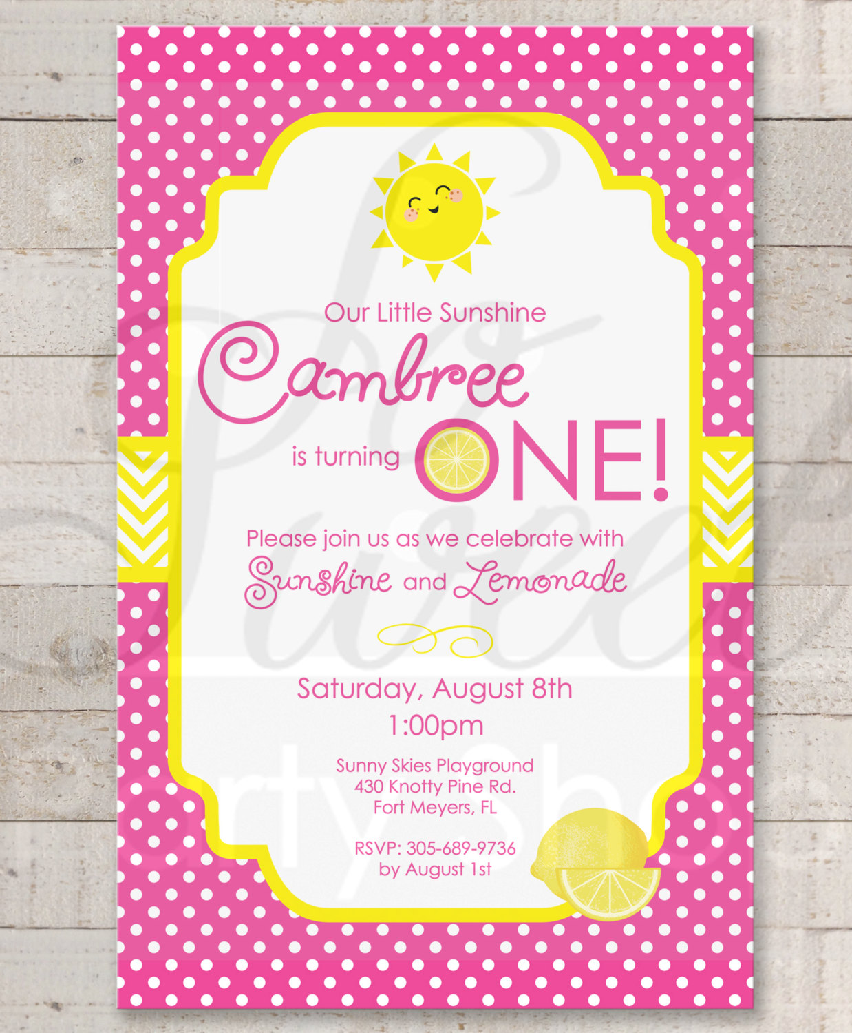 Lemonade and Sunshine Invitations – 1st Birthday Party Invitations ...
