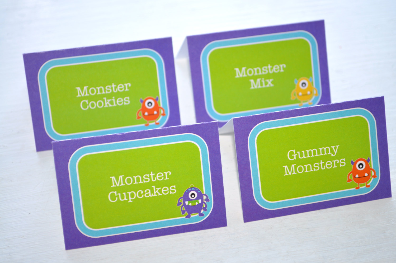 monster birthday food label tent cards monster party