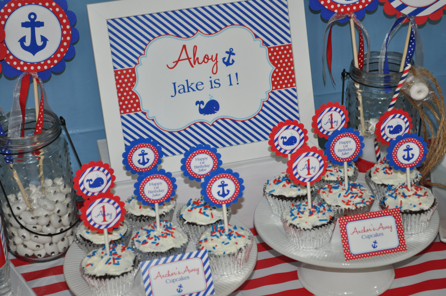 Nautical 1st Birthday Cake Topper Boys