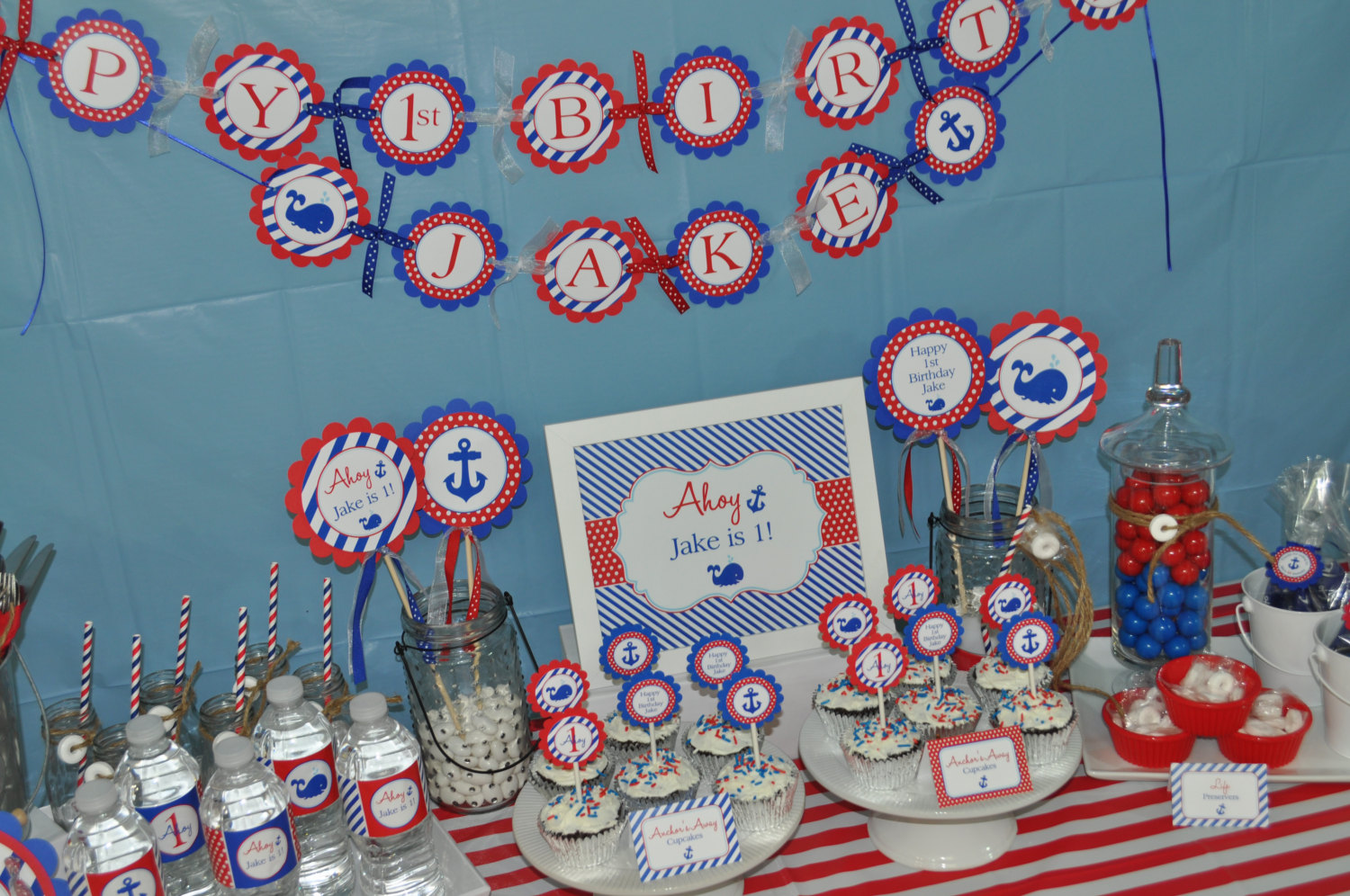 Nautical 1st Birthday Cupcake Toppers Boys Decorations