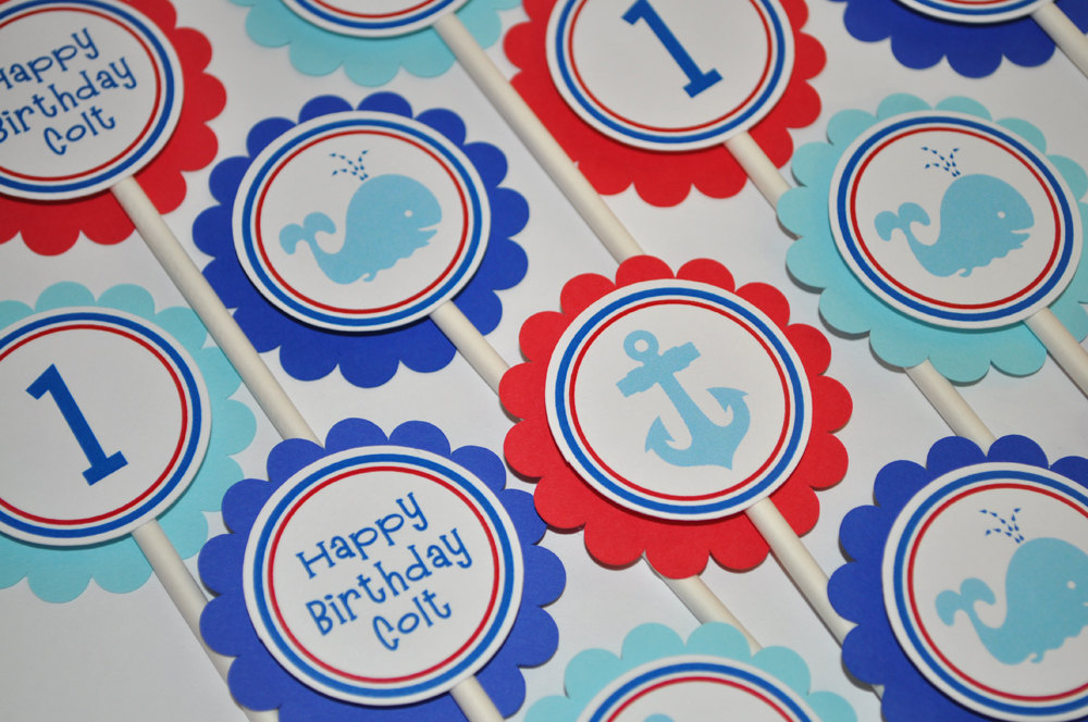 Nautical 1st Birthday Cupcake Toppers Whale Anchor Decorations Boys