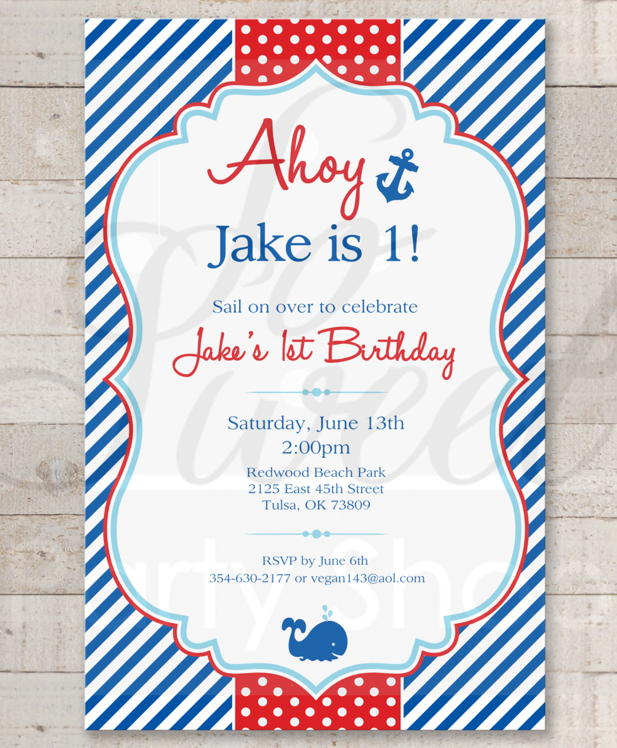 Nautical 1st Birthday Invitations Boys