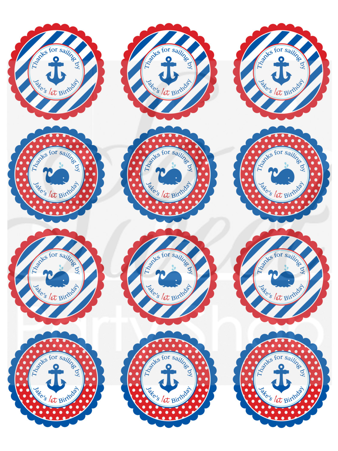 Nautical 1st Birthday Stickers Boys Favor Label
