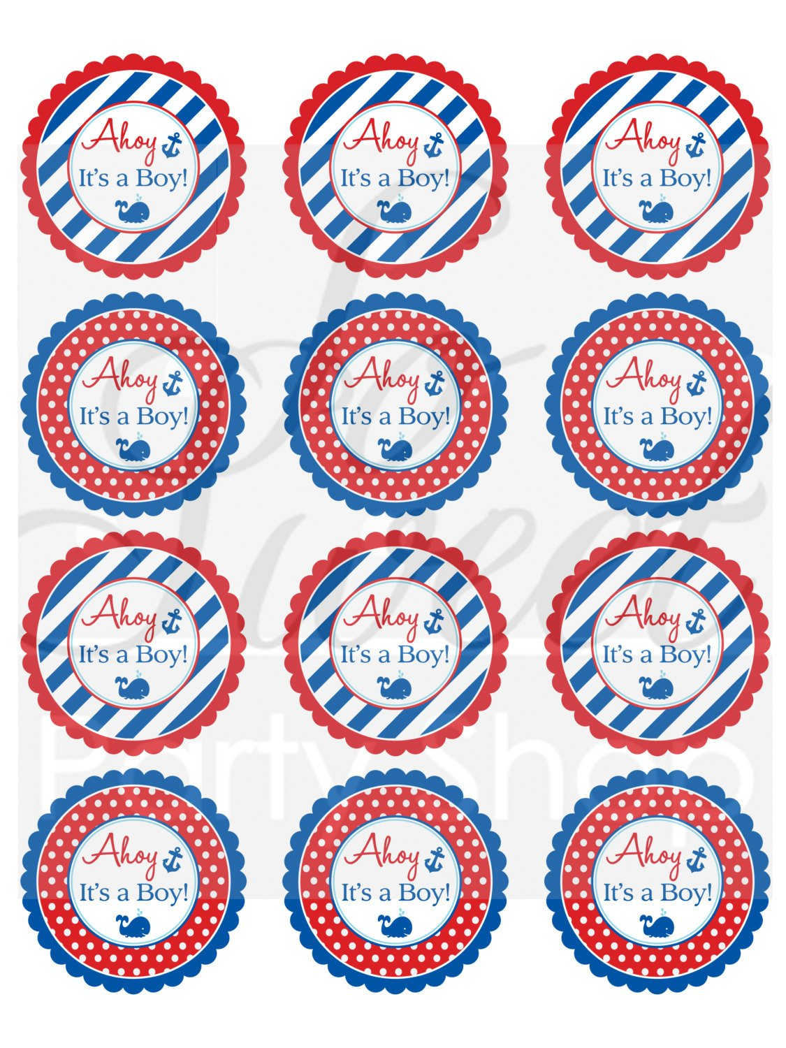 Set of 10 Whales and Anchors Personalized Drink Labels Nautical 1st Birthday Water Bottle Labels Boys 1st Birthday Decorations