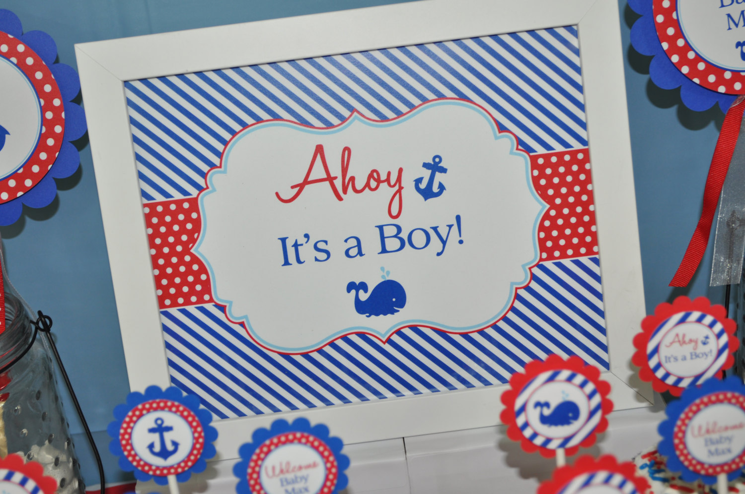 bc942dee11b03 Nautical ITS A BOY Print – 8×10 Sign – Boys Baby Shower Decorations ...