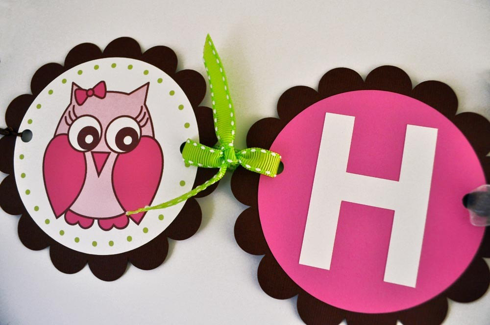 Owl Birthday Banner Girls 1st Happy Woodland Forest Theme Party Decorations