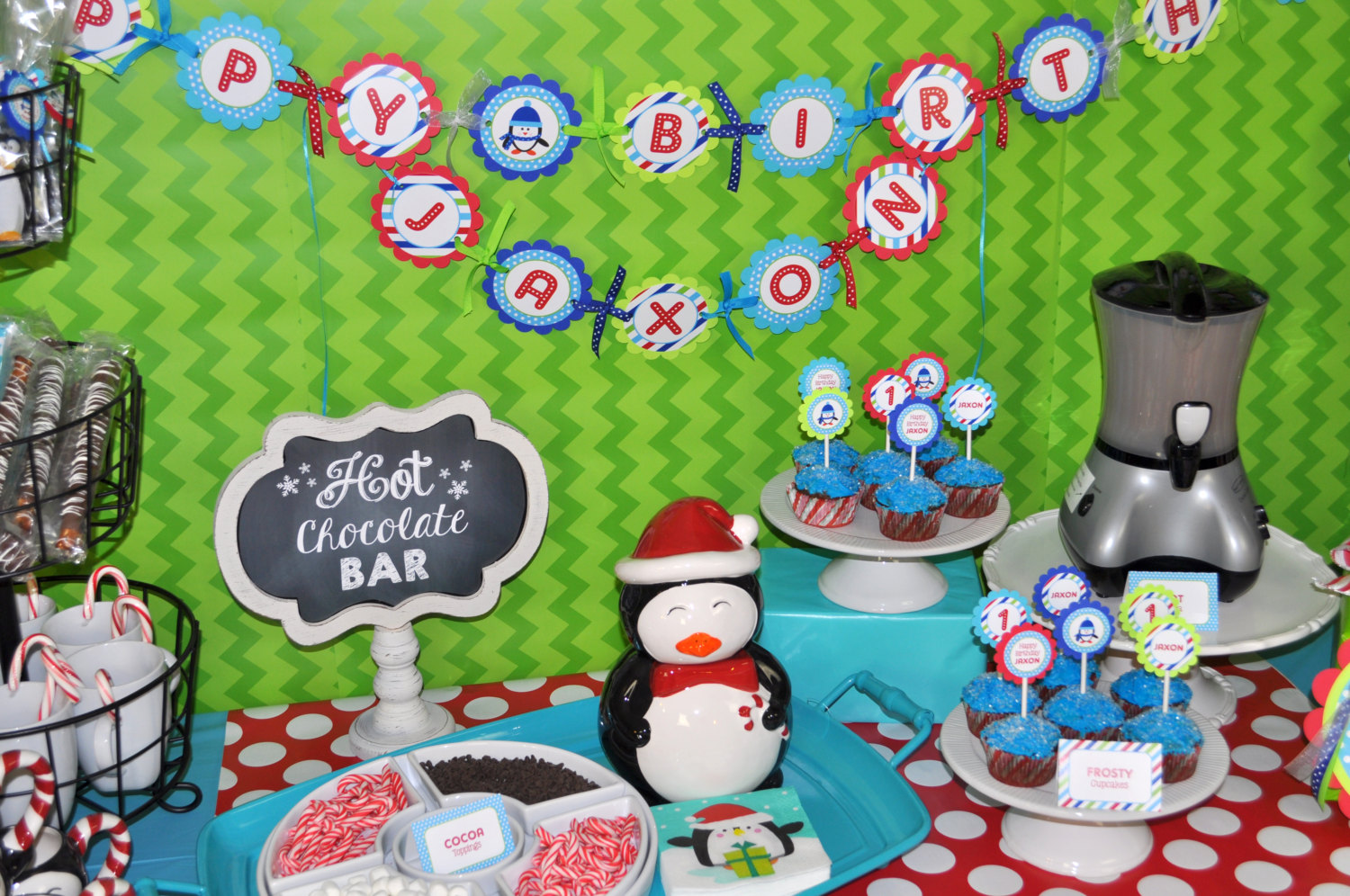 Penguin 1st Birthday Banner Winter Onederland Party Decorations Boy