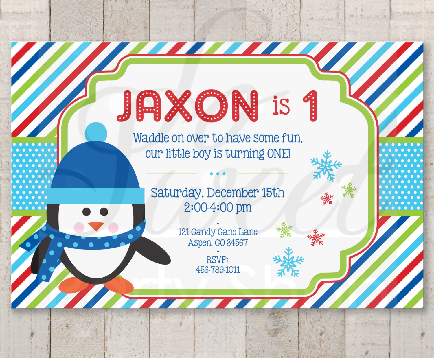 Penguin 1st Birthday Invitations Boy