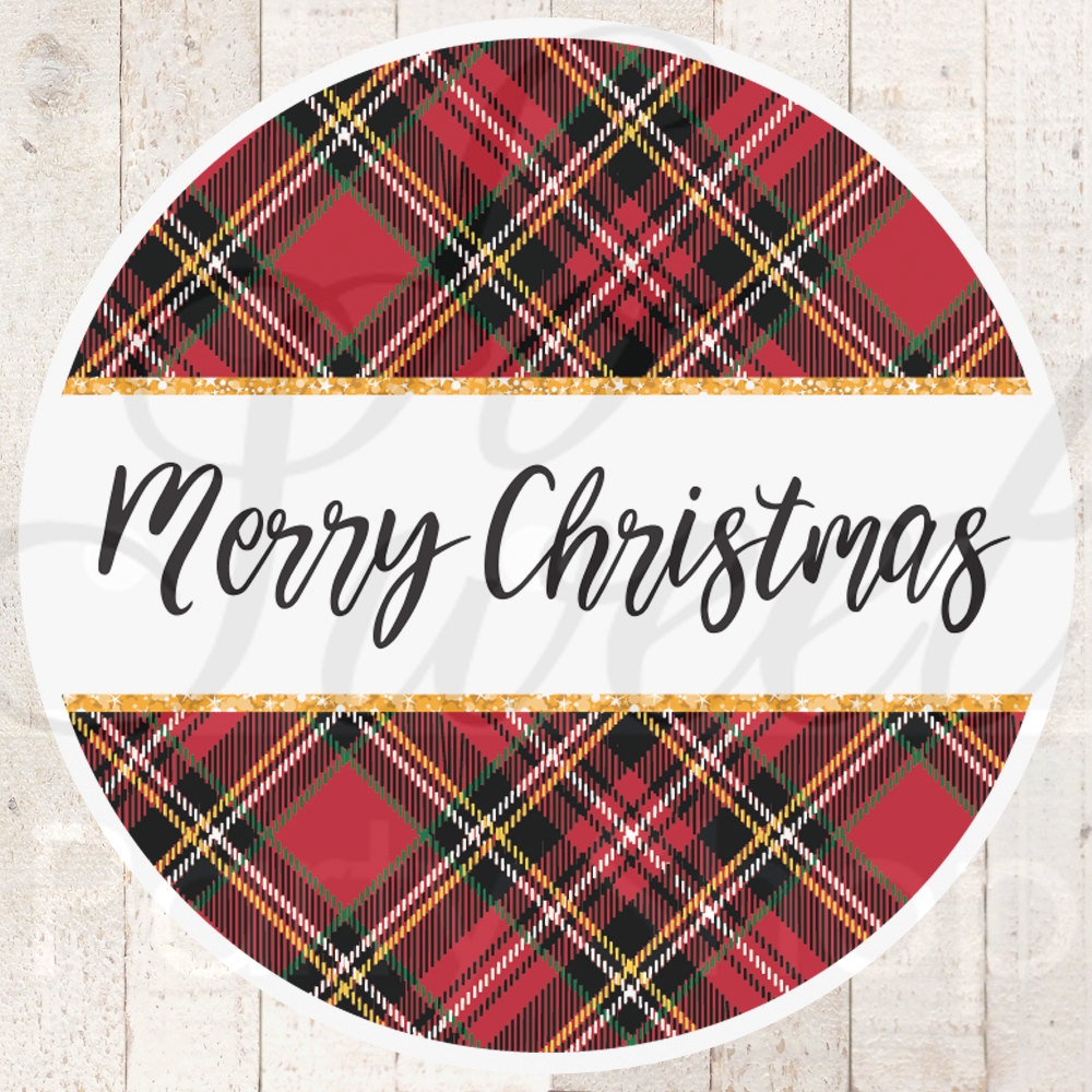 plaid merry christmas stickers gift tags christmas labels happy