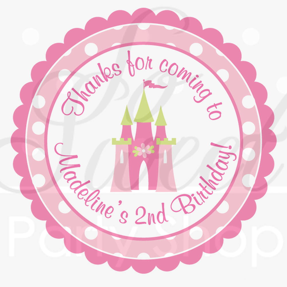 48 Personalised princess castle Birthday Labels Stickers Party Thank You Seals