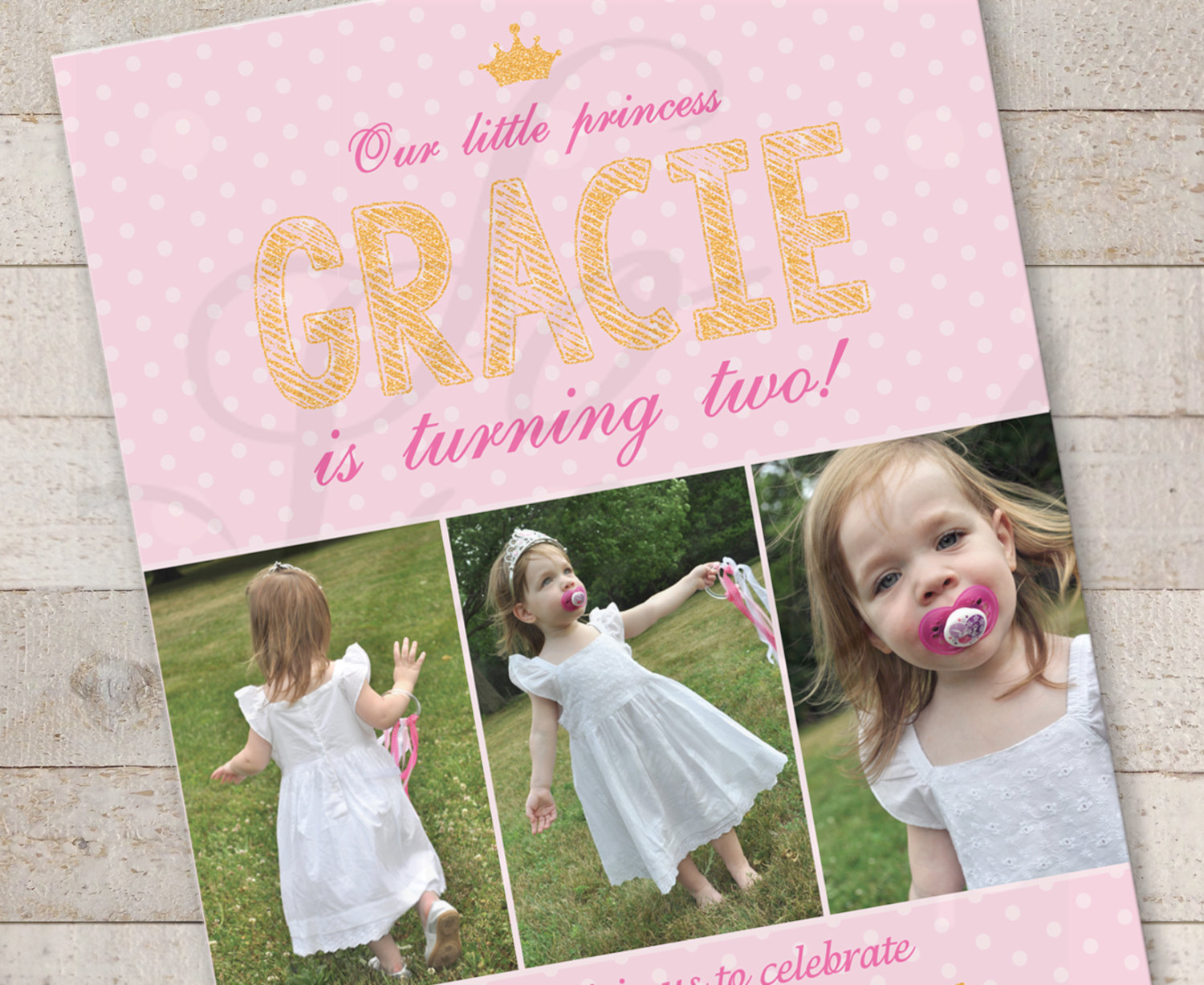 Princess Pink And Gold Invitations Girls Birthday Invites 1st