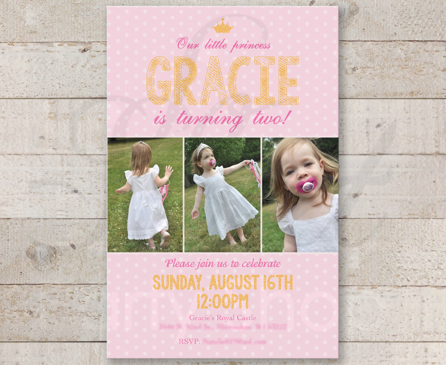 Princess pink and gold invitations girls birthday invites 1st filmwisefo