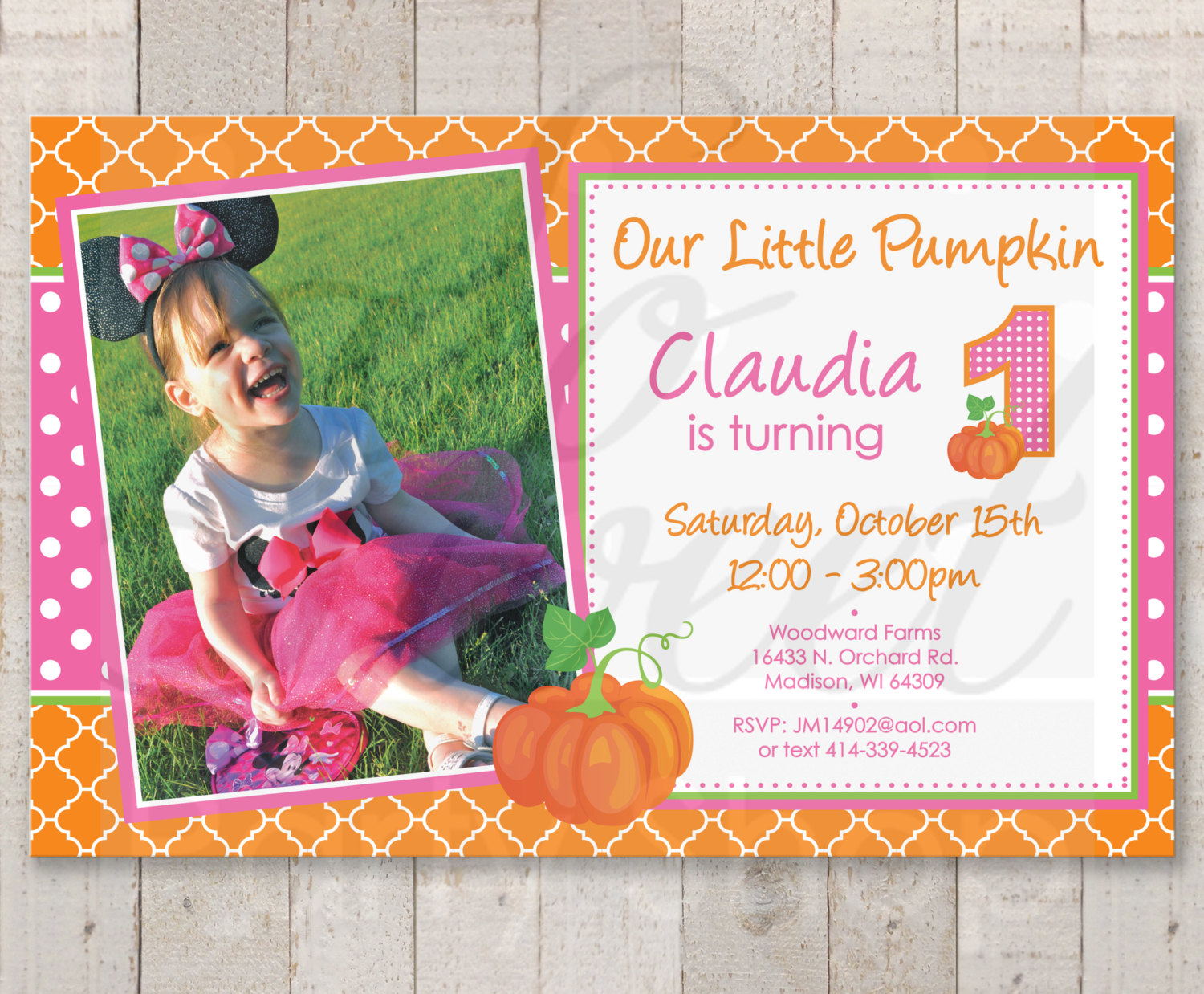 pumpkin 1st birthday invitations