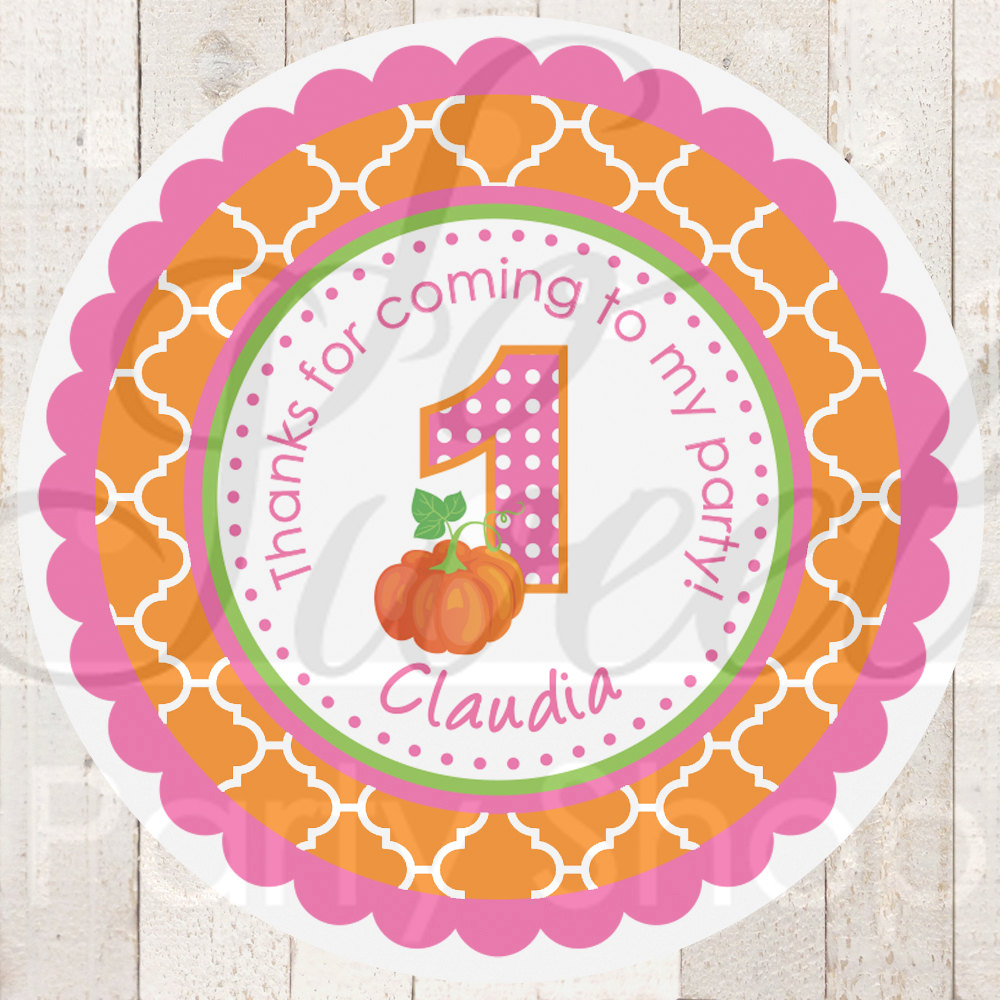 pumpkin birthday party favor stickers, thank you stickers, party