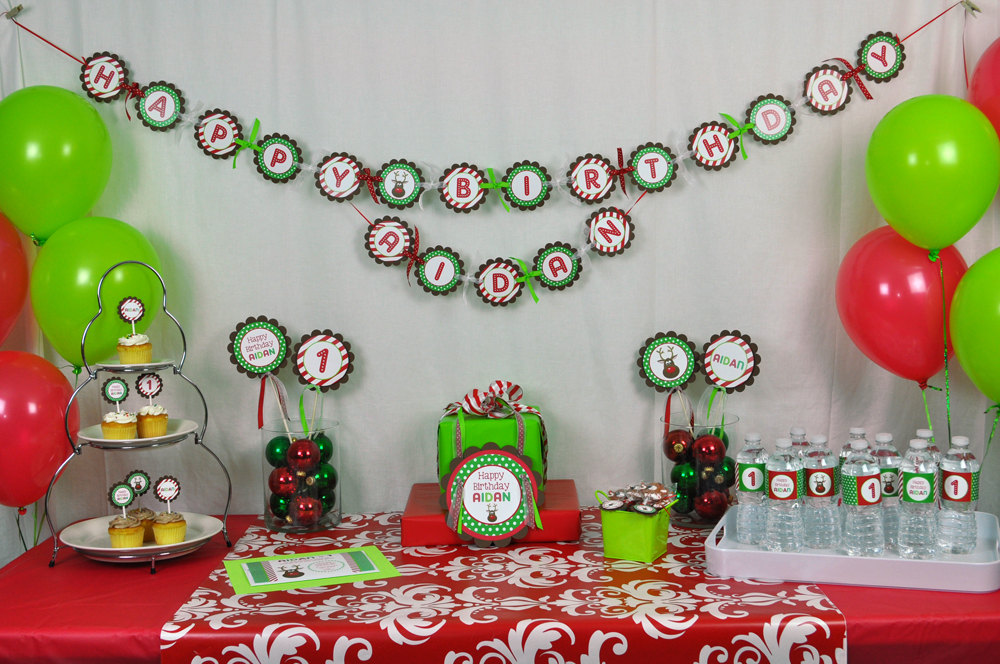 Christmas Birthday Party.Reindeer 1st Birthday Banner Holiday Winter Birthday Party Decorations 1st Birthday Banner