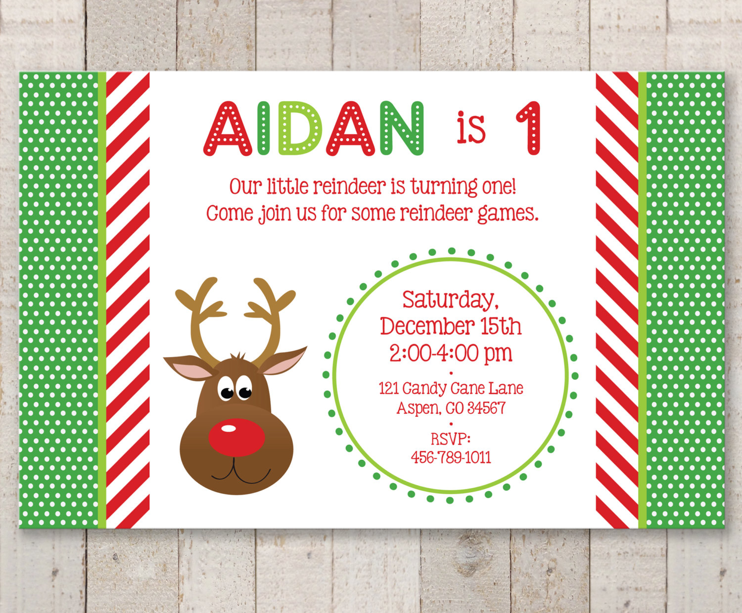 reindeer 1st birthday invitations holiday winter birthday party