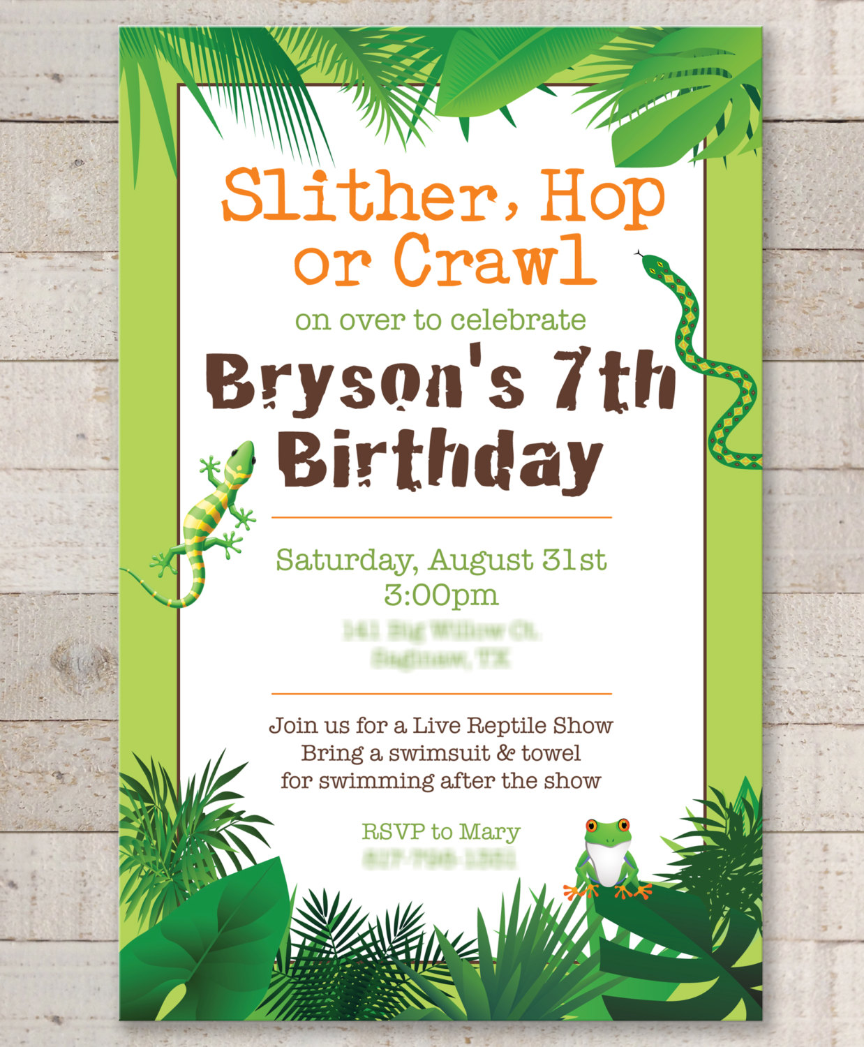 Reptile Birthday Invitations – Safari, Jungle, Bugs, Insects ...