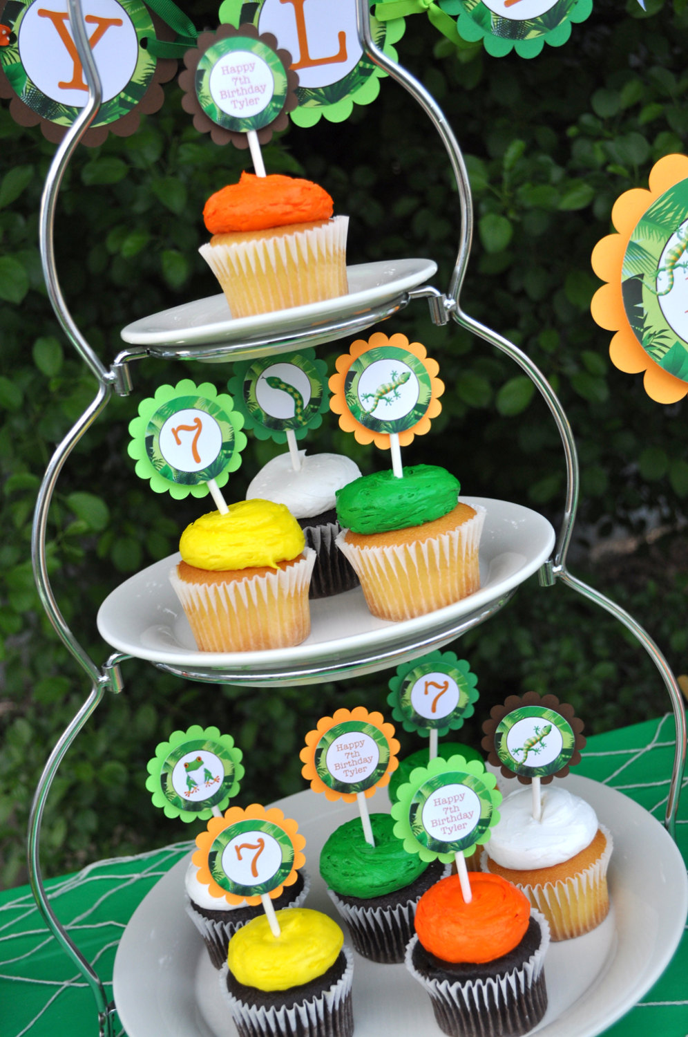 Reptile Party Cupcake Toppers Snakes Lizards Frogs