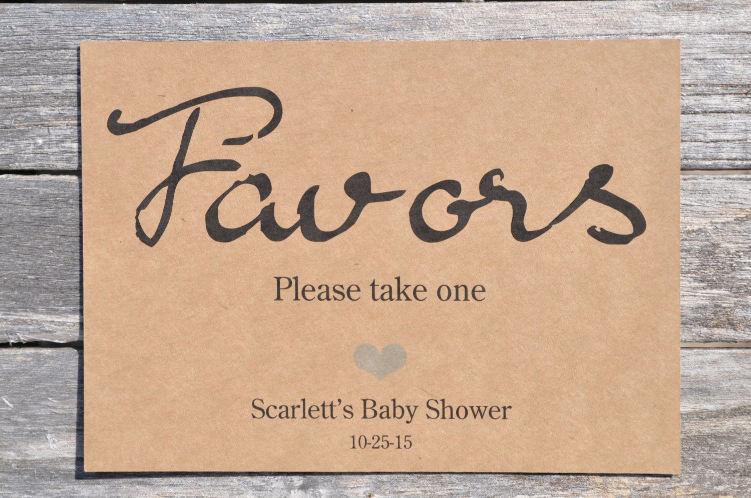 Rustic Baby Shower Favors Sign 5 7 Kraft Print Wedding Favors Sign