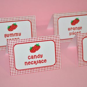 12 Personalized Strawberry shortcake birthday party favor tags.