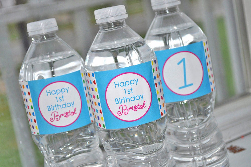 Water Bottle Labels Birthday Party Decorations Bottle
